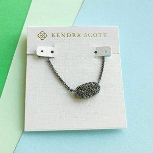 ELISA Kendra Scott black drusy gunmetal necklace